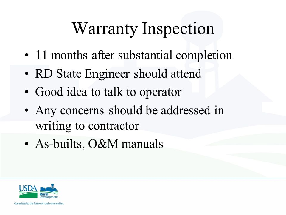 Warranty Inspection 11 months after substantial completion