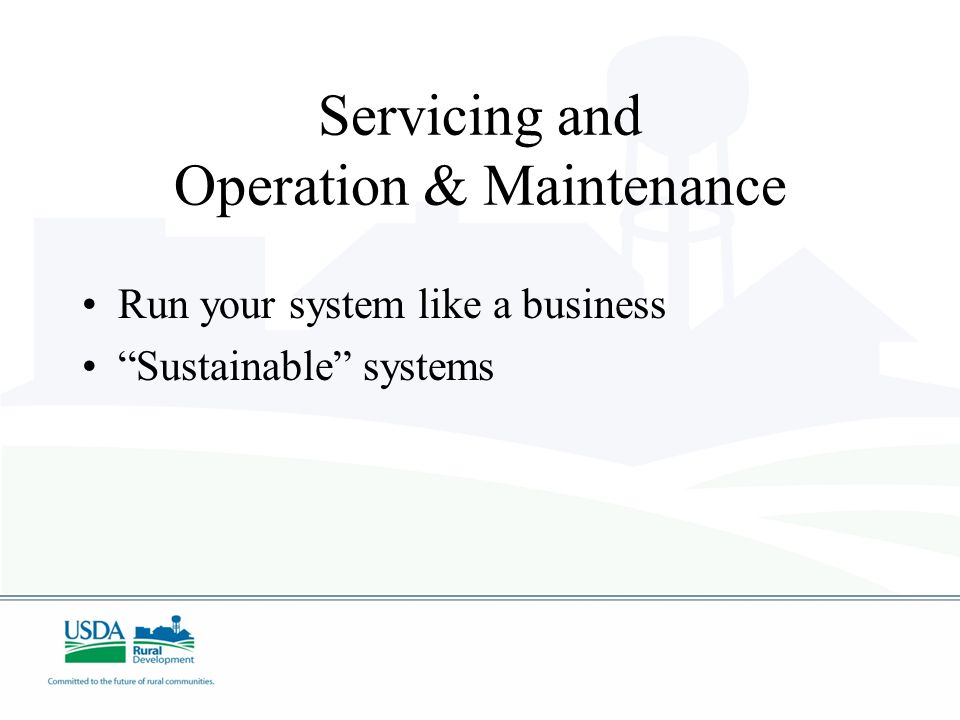 Servicing and Operation & Maintenance