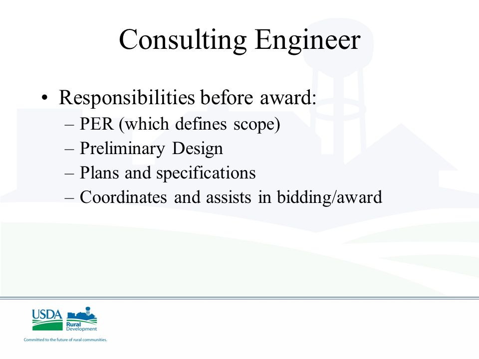 Consulting Engineer Responsibilities before award: