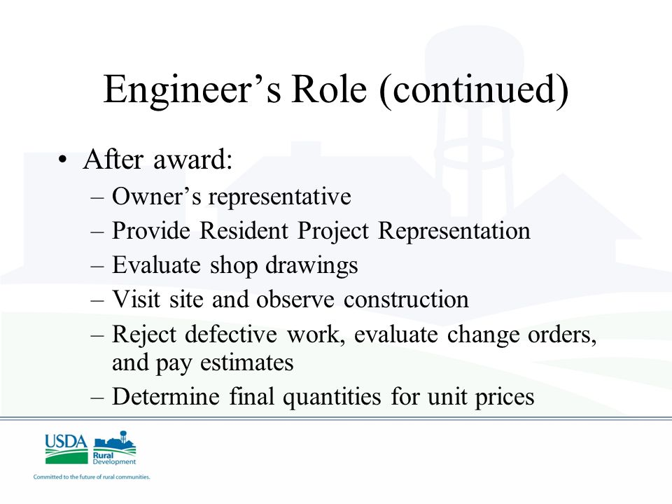 Engineer's Role (continued)