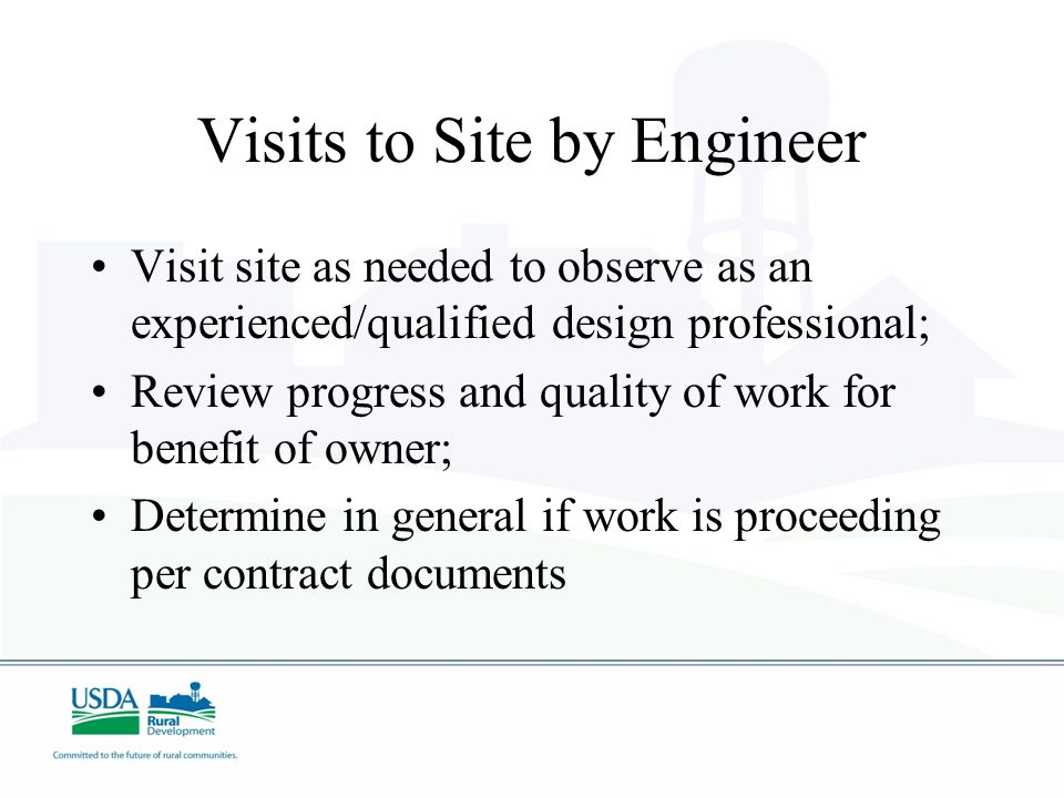 Visits to Site by Engineer