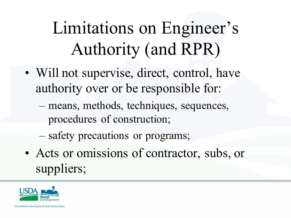 Limitations on Engineer's Authority (and RPR)