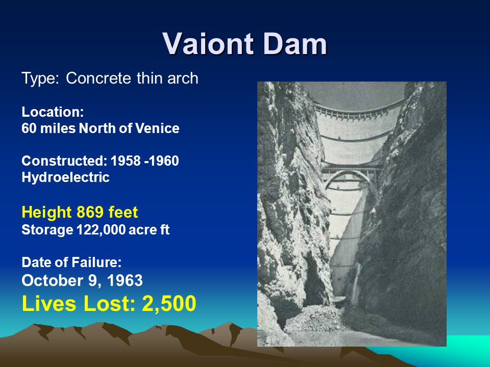 Vaiont Dam Lives Lost: 2,500 Type: Concrete thin arch Height 869 feet