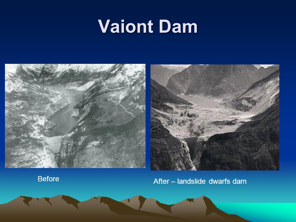 Vaiont Dam Before After – landslide dwarfs dam