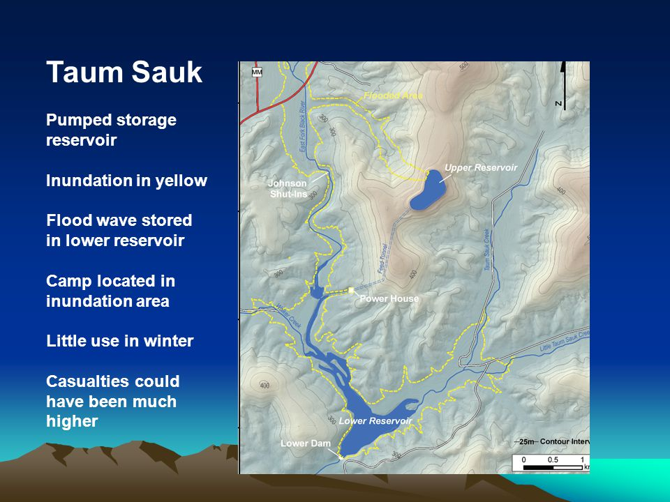 Taum Sauk Pumped storage reservoir Inundation in yellow
