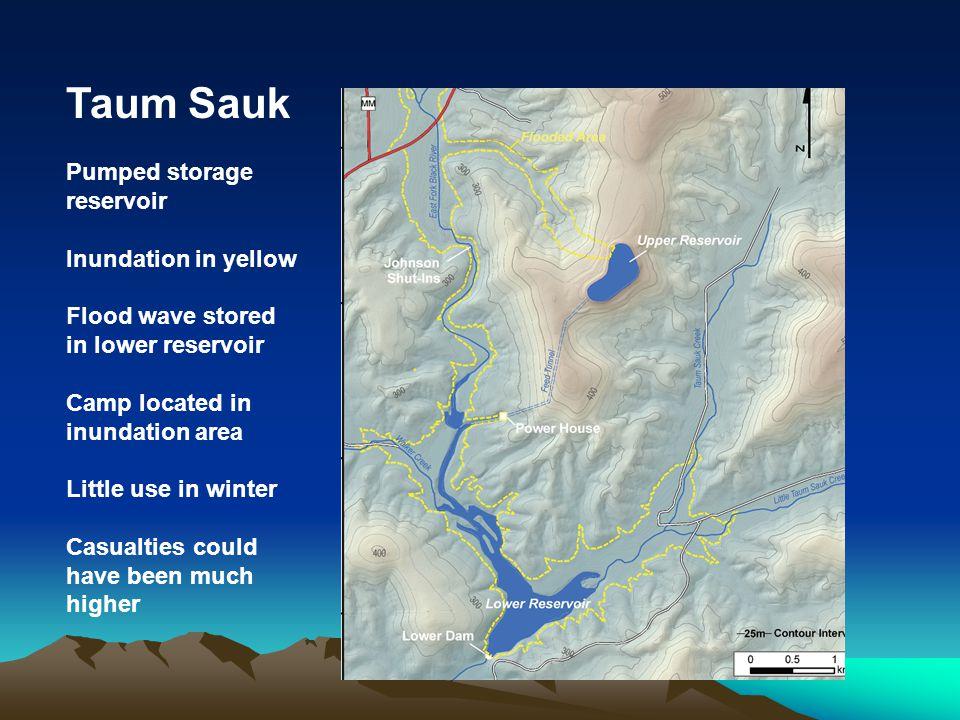 Taum Sauk Pumped storage reservoir Inundation in yellow