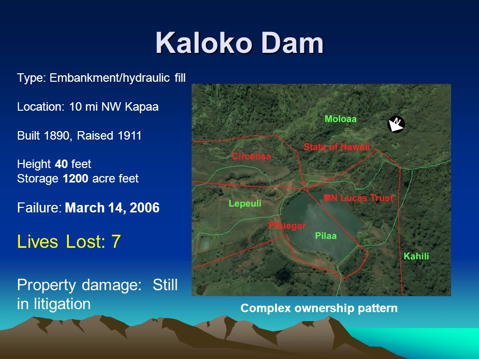 Kaloko Dam Lives Lost: 7 Property damage: Still in litigation