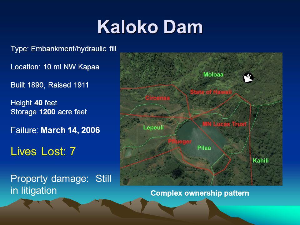 Kaloko Dam Lives Lost: 7 Property damage: Still in litigation