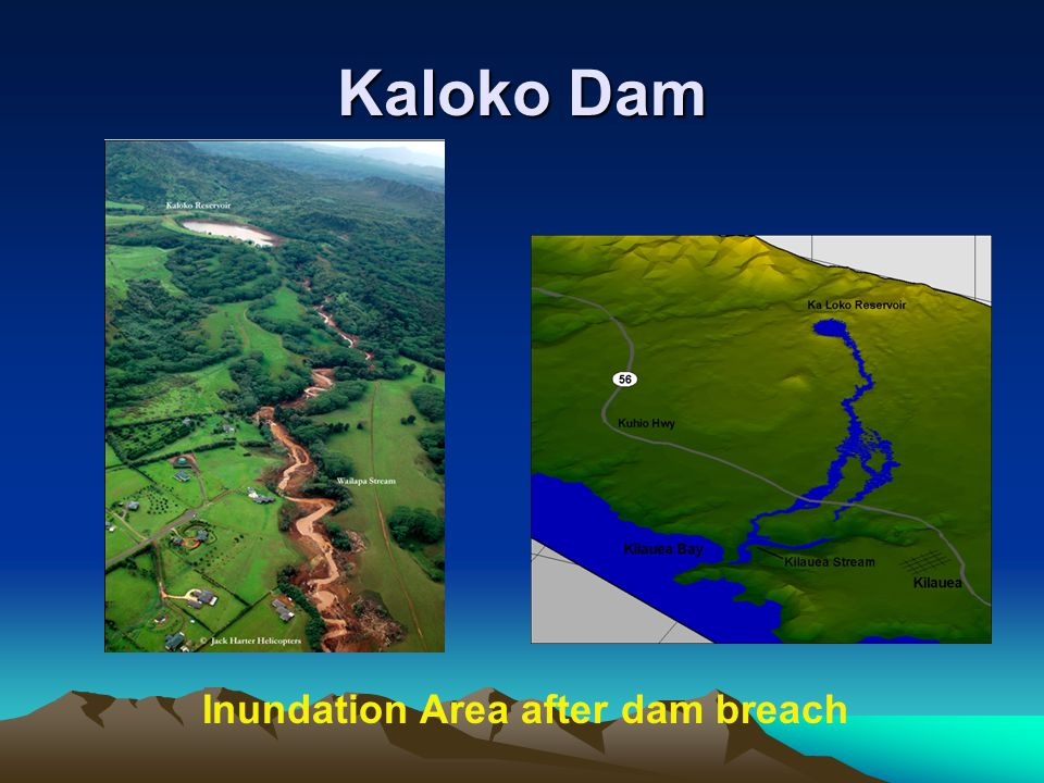 Kaloko Dam Inundation Area after dam breach