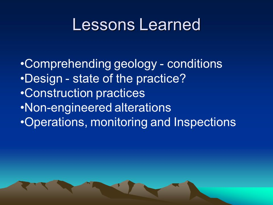 Lessons Learned Comprehending geology - conditions