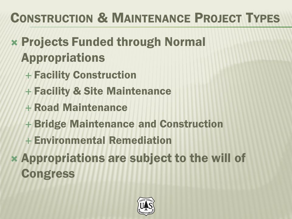 Construction & Maintenance Project Types