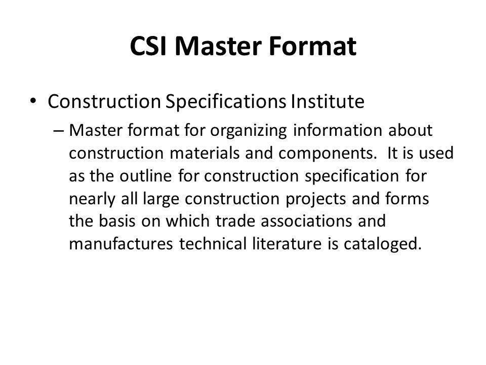 CSI Master Format Construction Specifications Institute