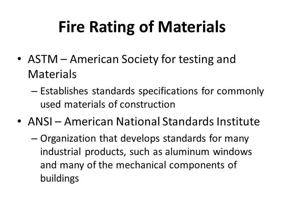 Fire Rating of Materials