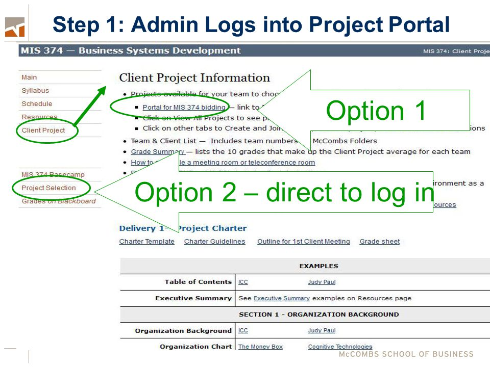 Step 1: Admin Logs into Project Portal