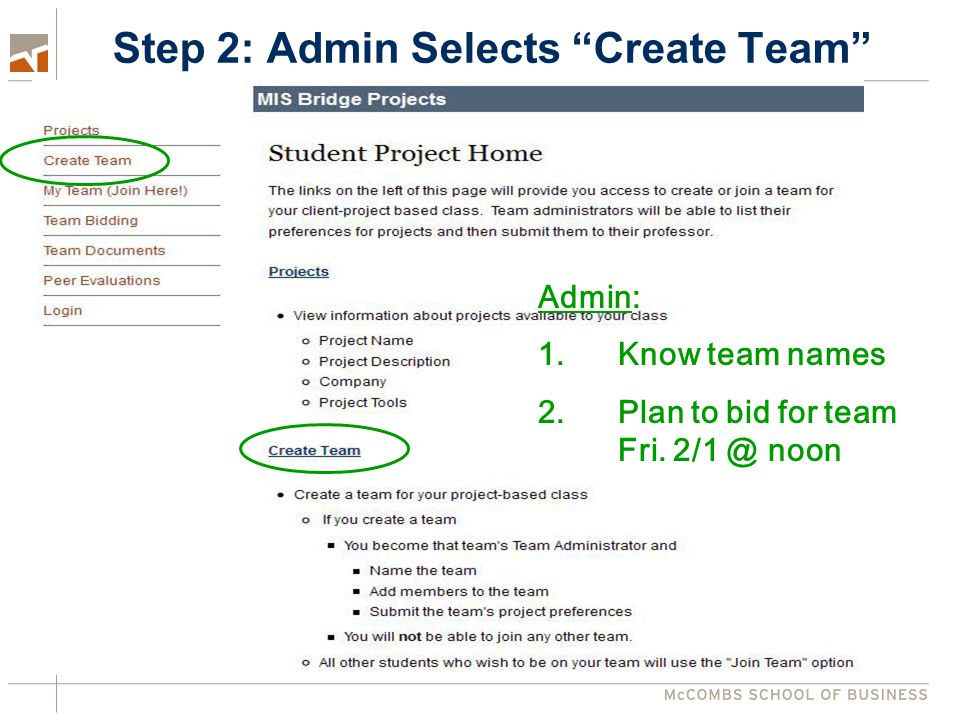 Step 2: Admin Selects Create Team