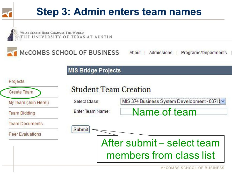 Step 3: Admin enters team names