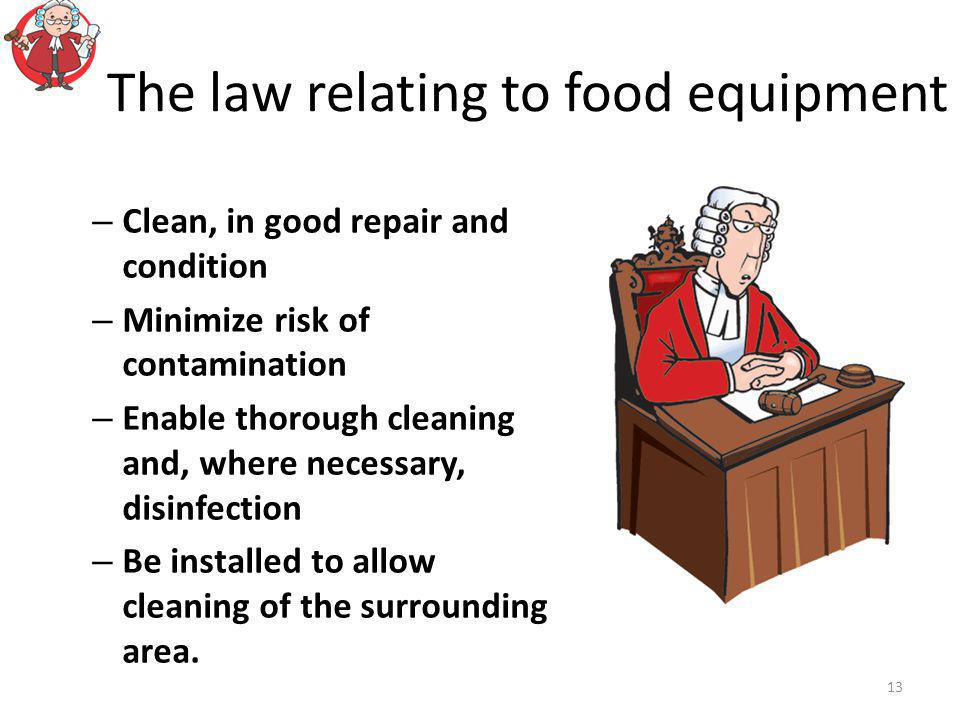 The law relating to food equipment