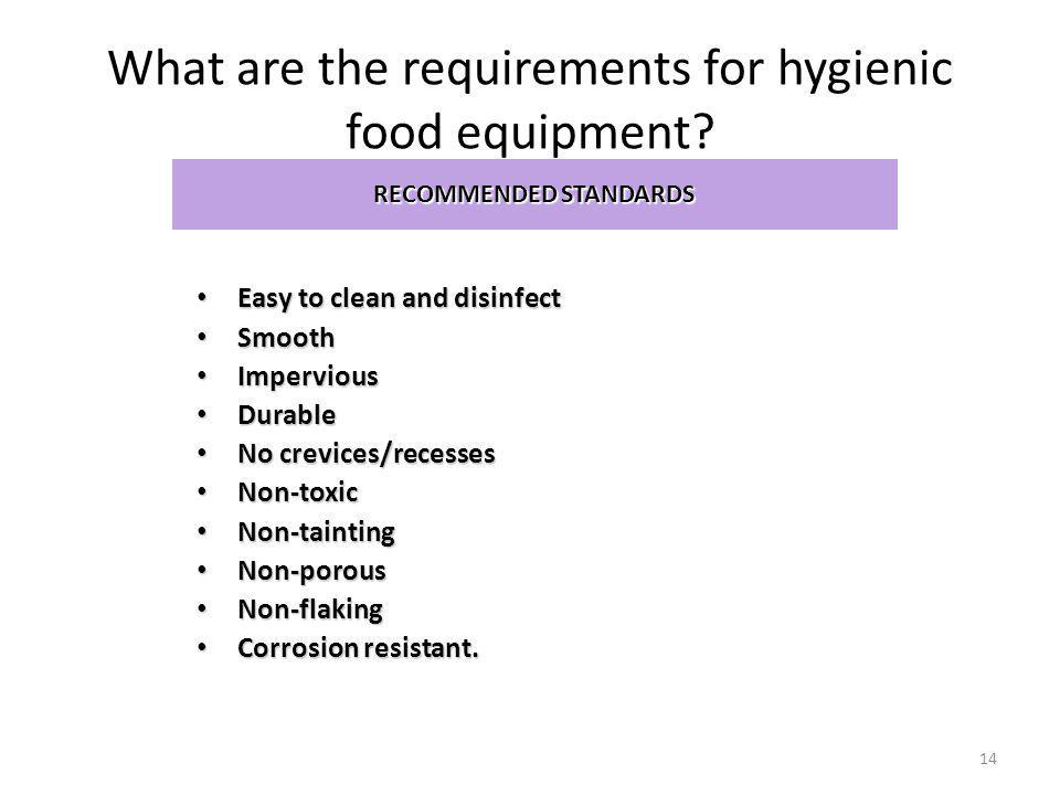 What are the requirements for hygienic food equipment