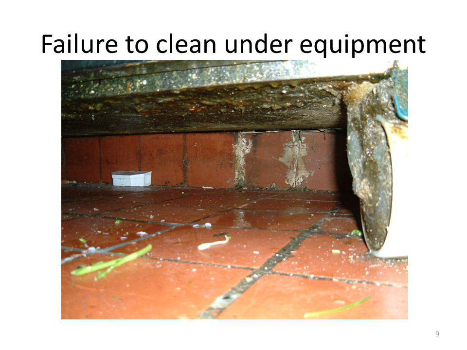 Failure to clean under equipment