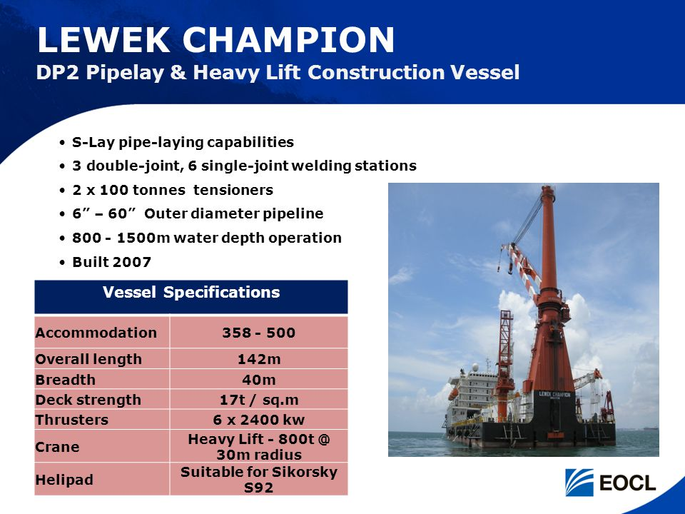 Vessel Specifications Suitable for Sikorsky S92