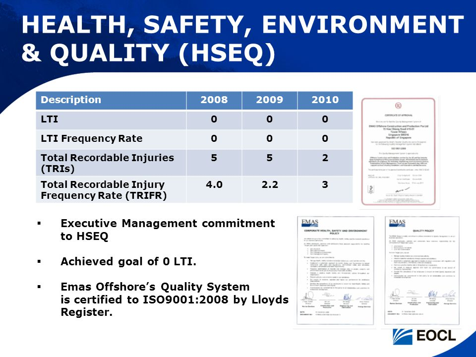 HEALTH, SAFETY, ENVIRONMENT & QUALITY (HSEQ)