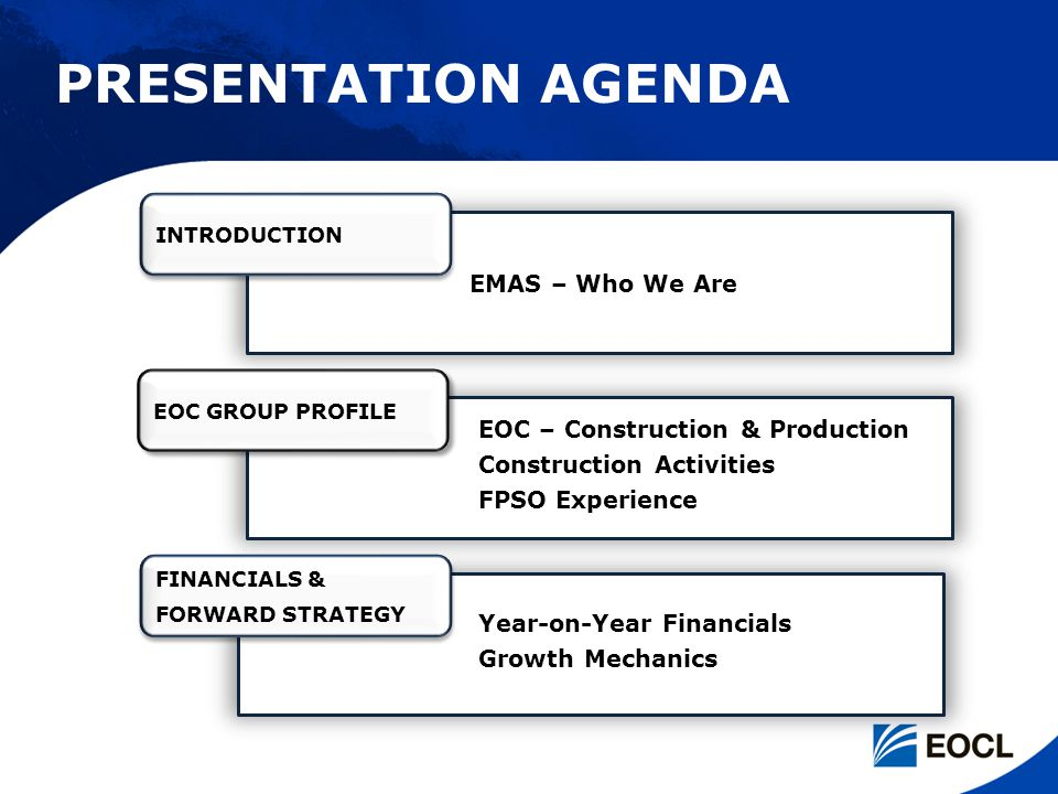 PRESENTATION AGENDA EMAS – Who We Are EOC – Construction & Production