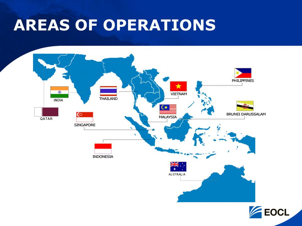 AREAS OF OPERATIONS INDIA QATAR AUSTRALIA