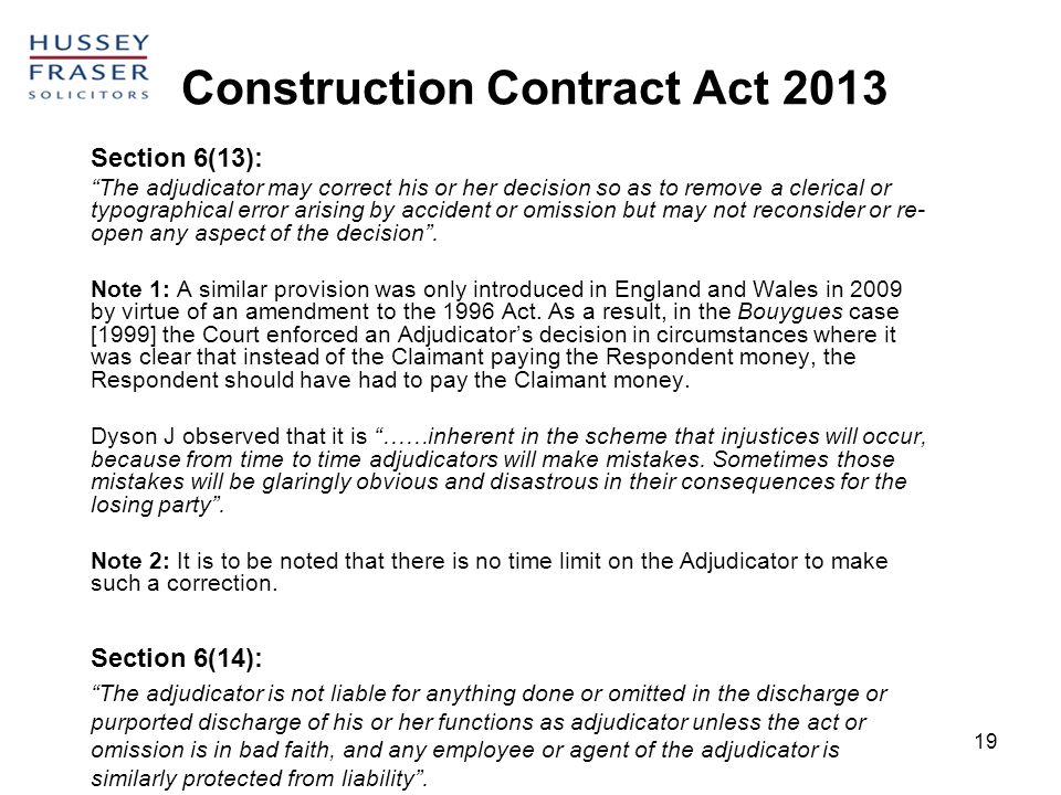 Construction Contract Act 2013