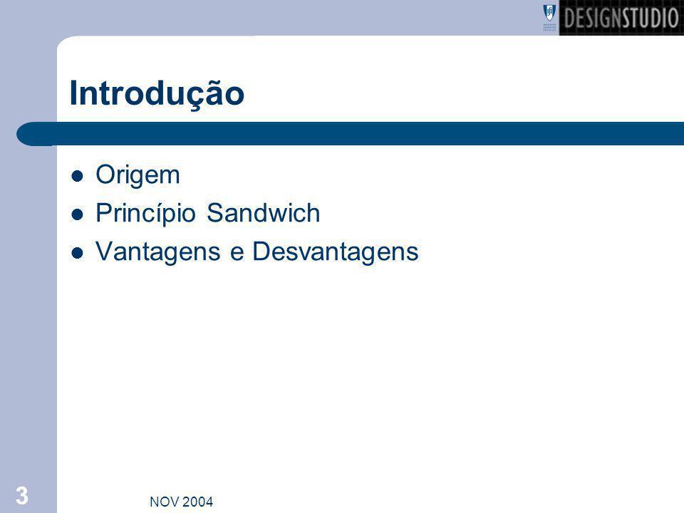 Introdução Origem Princípio Sandwich Vantagens e Desvantagens NOV 2004