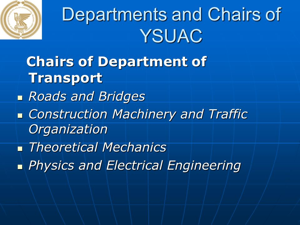 Departments and Chairs of YSUAC