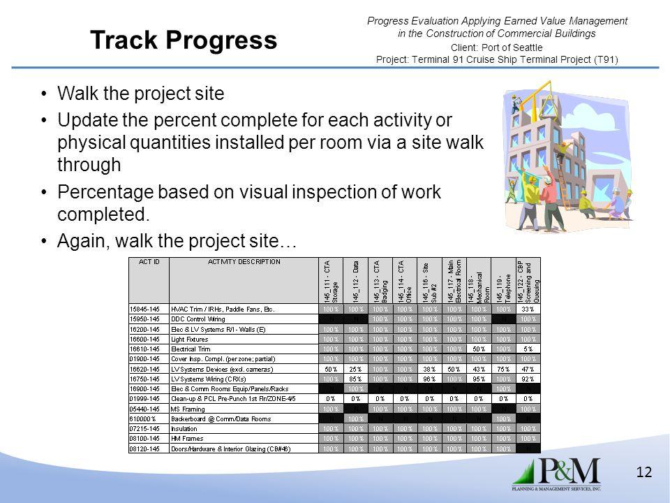 Track Progress Walk the project site