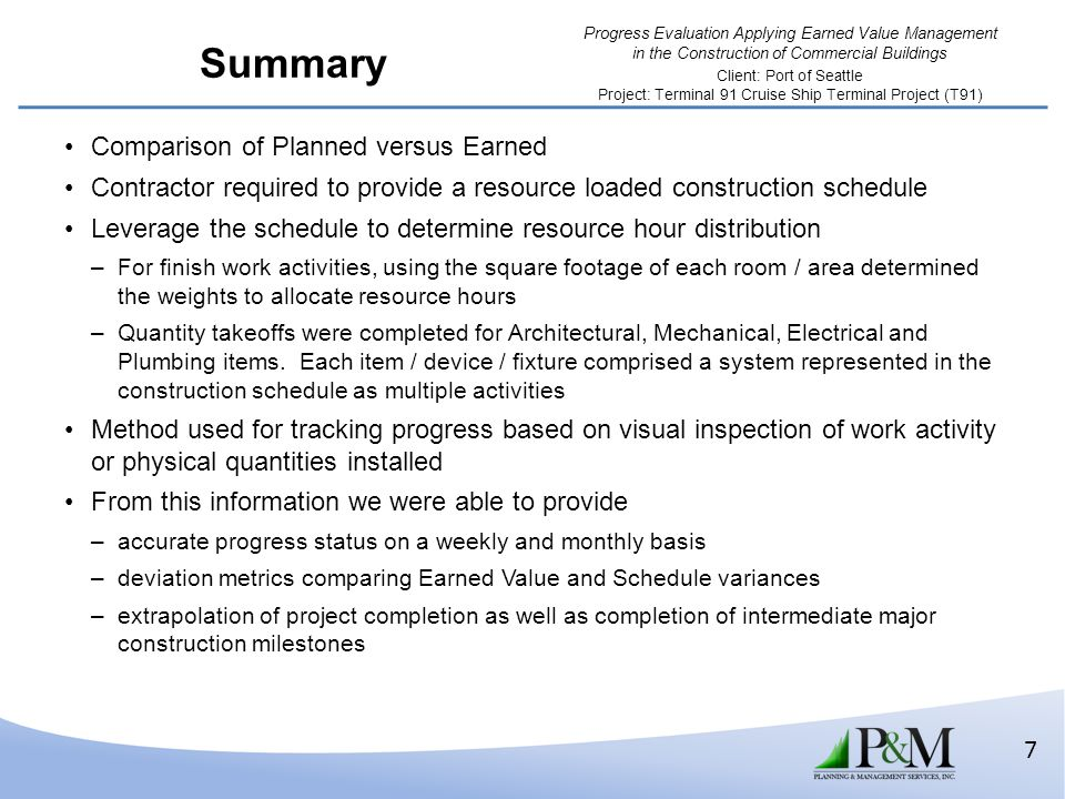 Summary Comparison of Planned versus Earned
