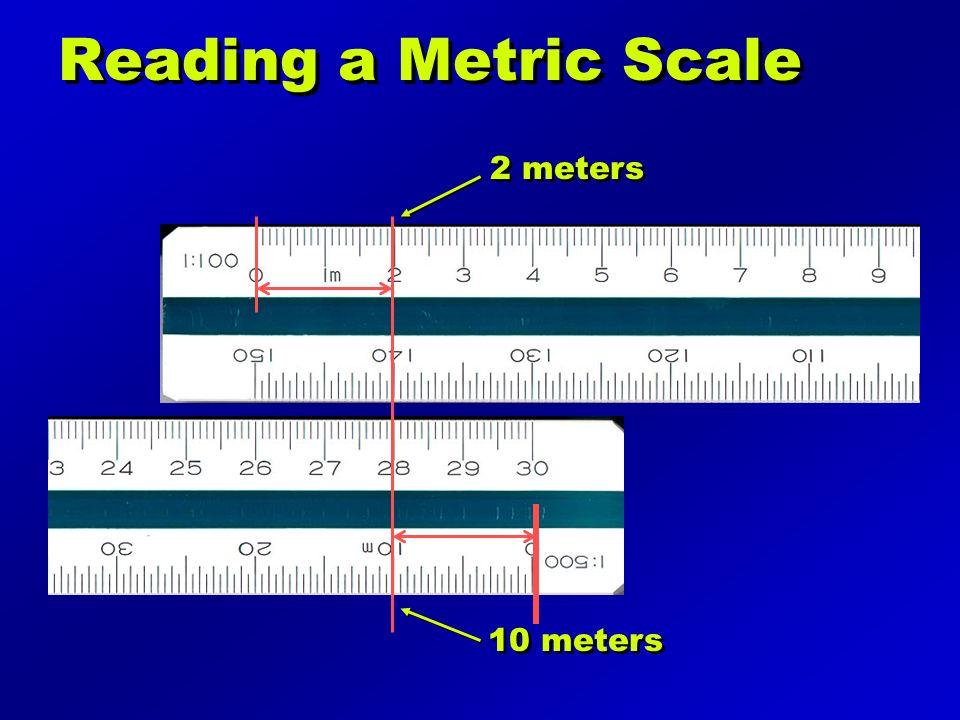 Reading a Metric Scale 2 meters 10 meters
