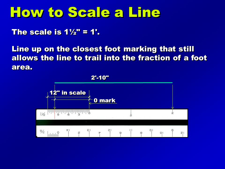 How to Scale a Line The scale is 1½ = 1 .