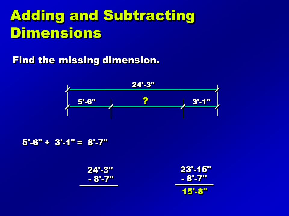 Adding and Subtracting Dimensions