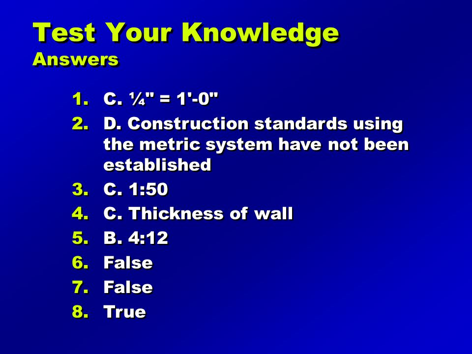Test Your Knowledge Answers