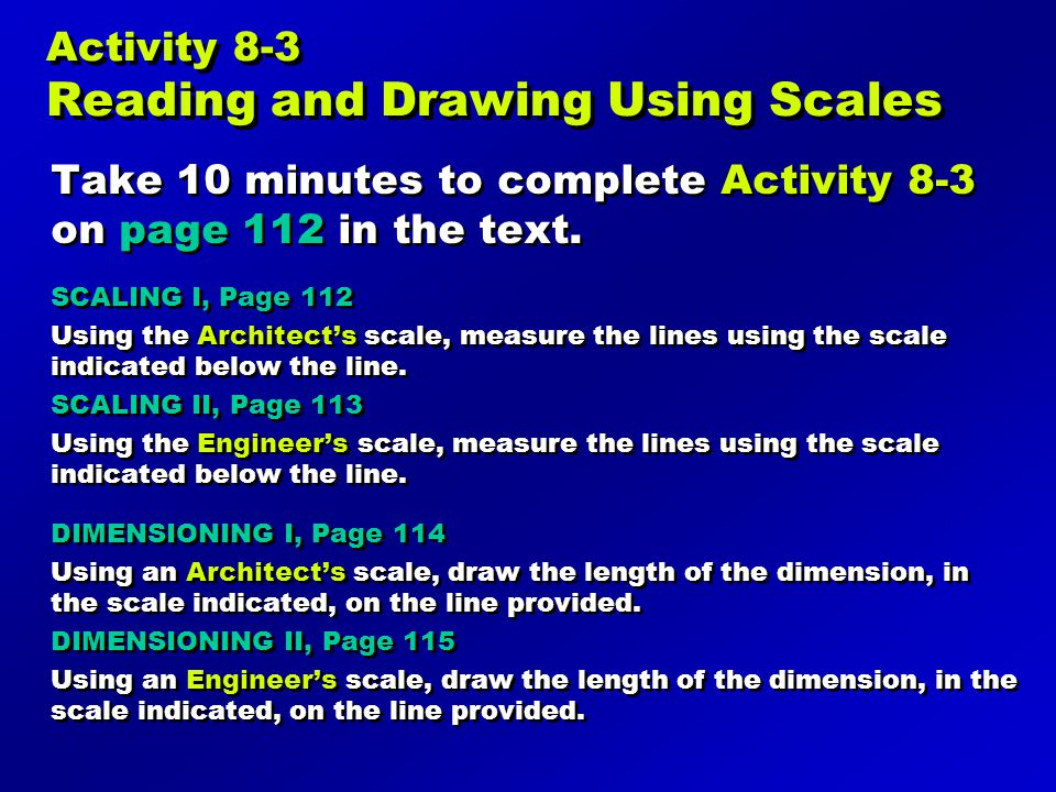 Activity 8-3 Reading and Drawing Using Scales