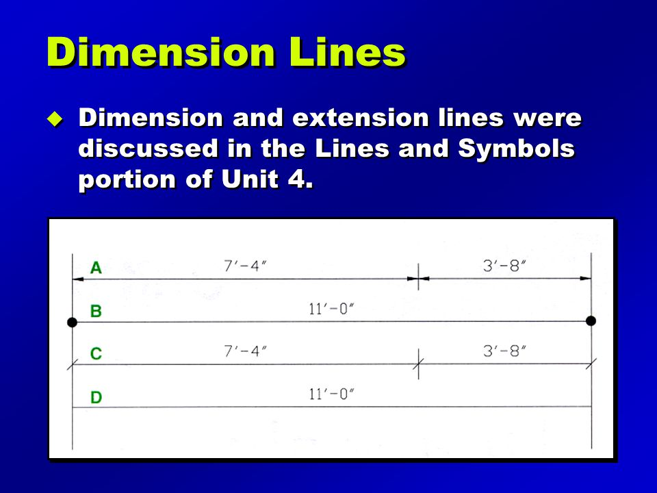 Dimension Lines Dimension and extension lines were discussed in the Lines and Symbols portion of Unit 4.