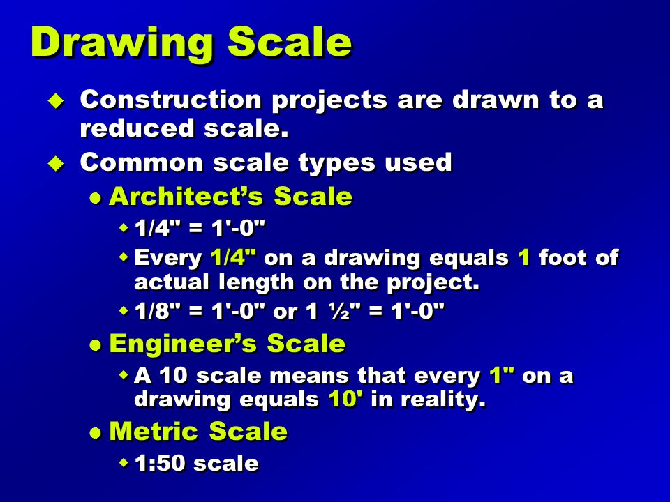 Drawing Scale Construction projects are drawn to a reduced scale.