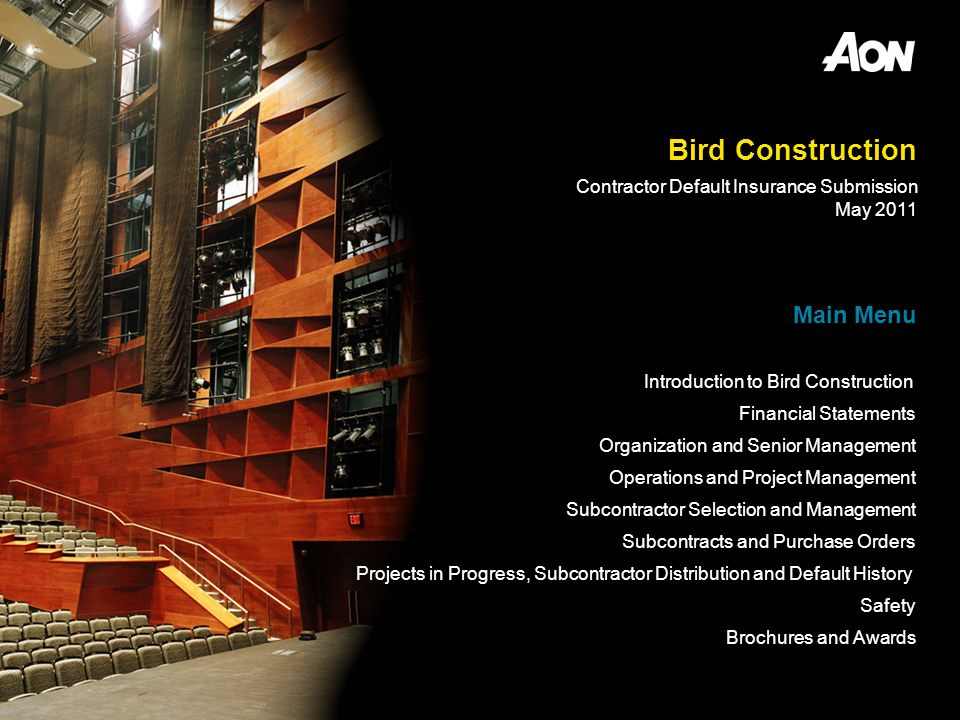 Bird Construction Main Menu Contractor Default Insurance Submission