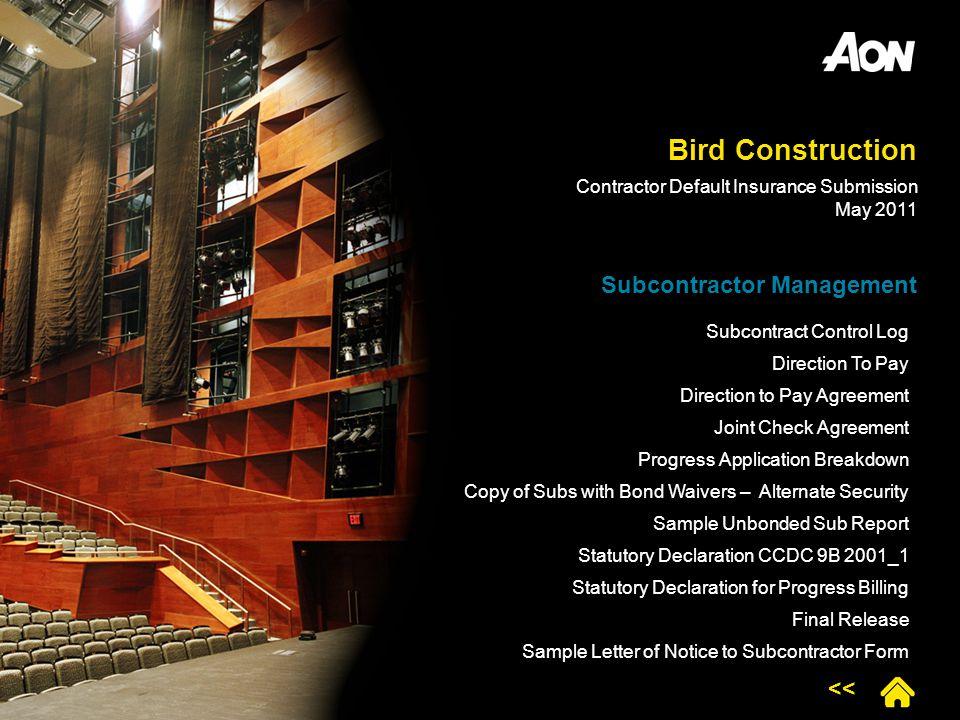 Bird Construction Subcontractor Management <<