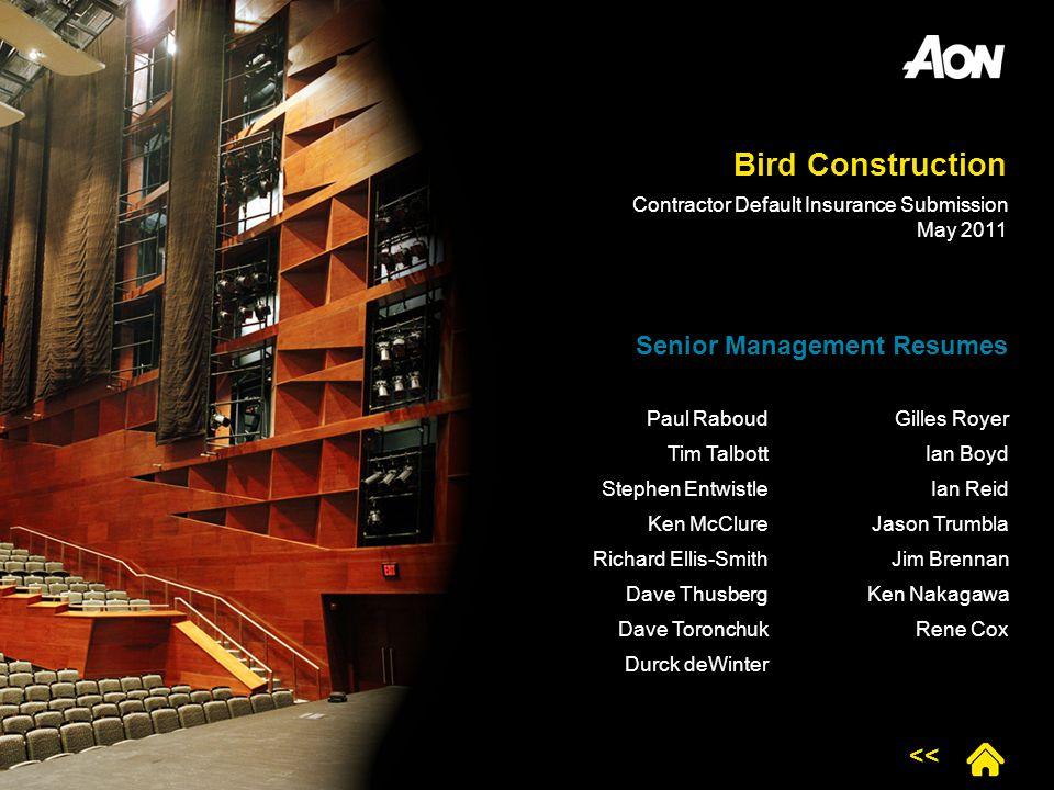 Bird Construction Senior Management Resumes <<