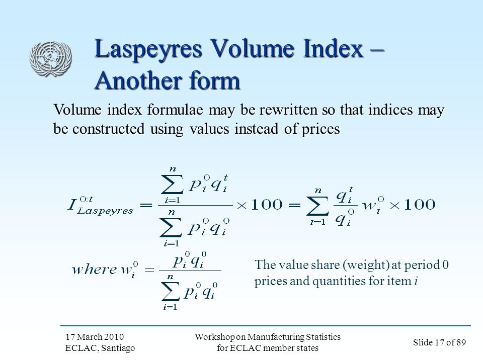Laspeyres Volume Index – Another form