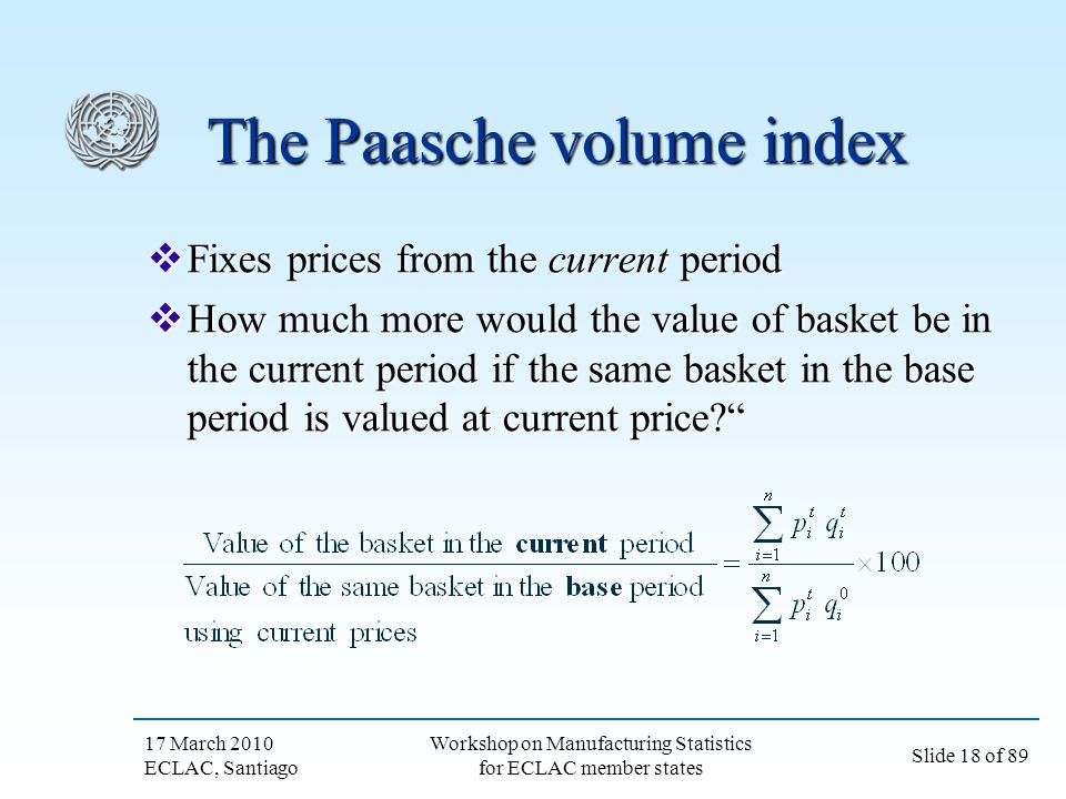 The Paasche volume index