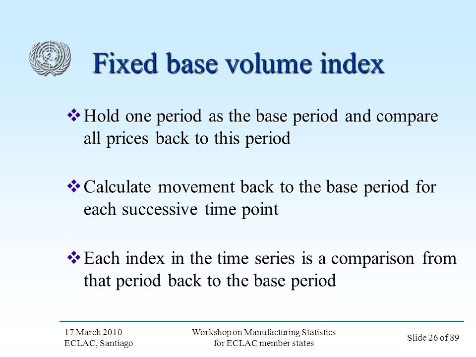 Fixed base volume index