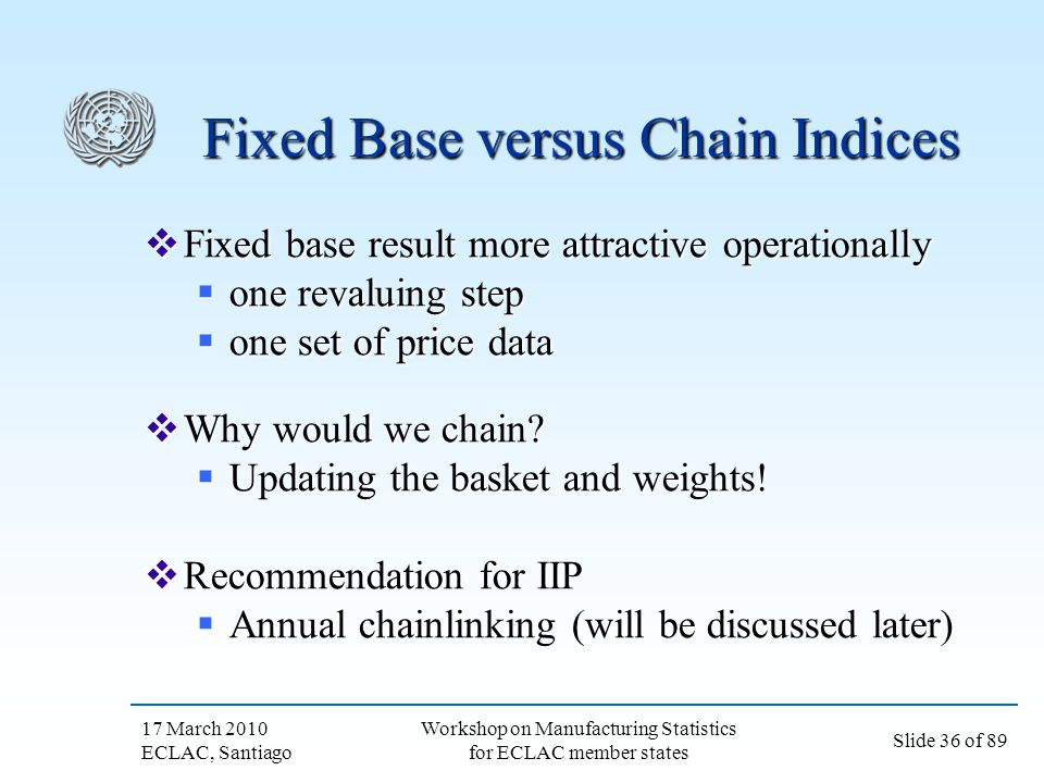 Fixed Base versus Chain Indices