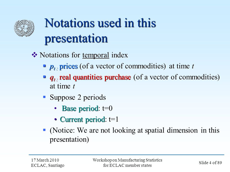 Notations used in this presentation