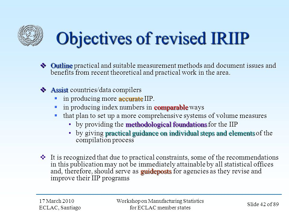 Objectives of revised IRIIP
