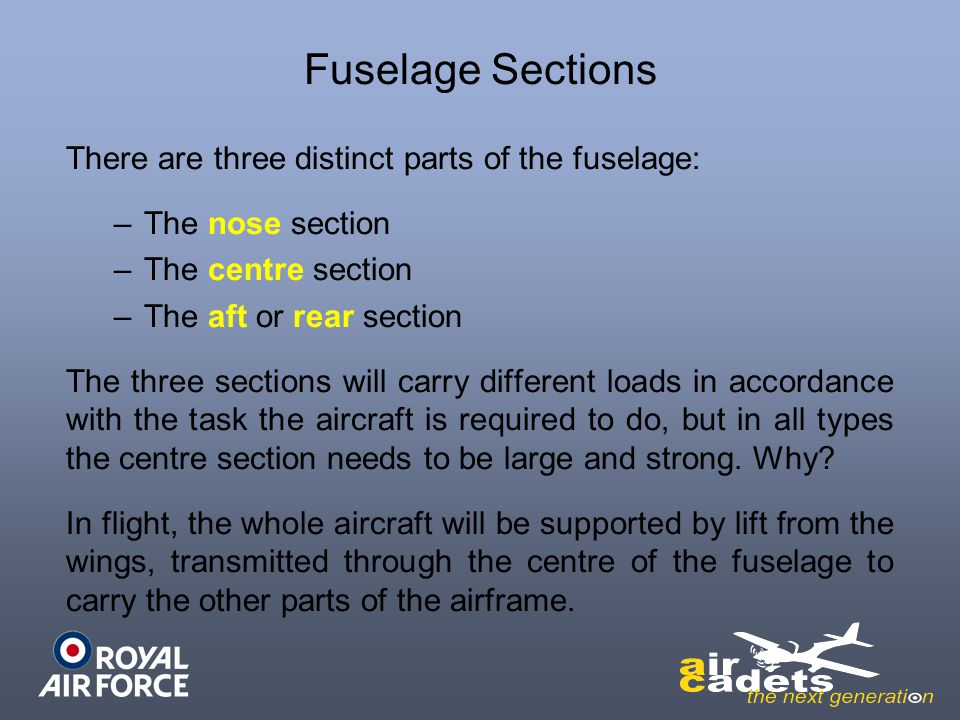 Fuselage Sections There are three distinct parts of the fuselage: