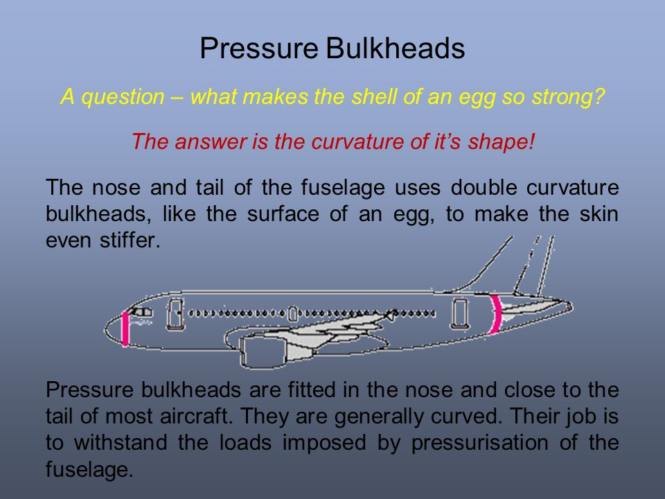 Pressure Bulkheads A question – what makes the shell of an egg so strong The answer is the curvature of it's shape!